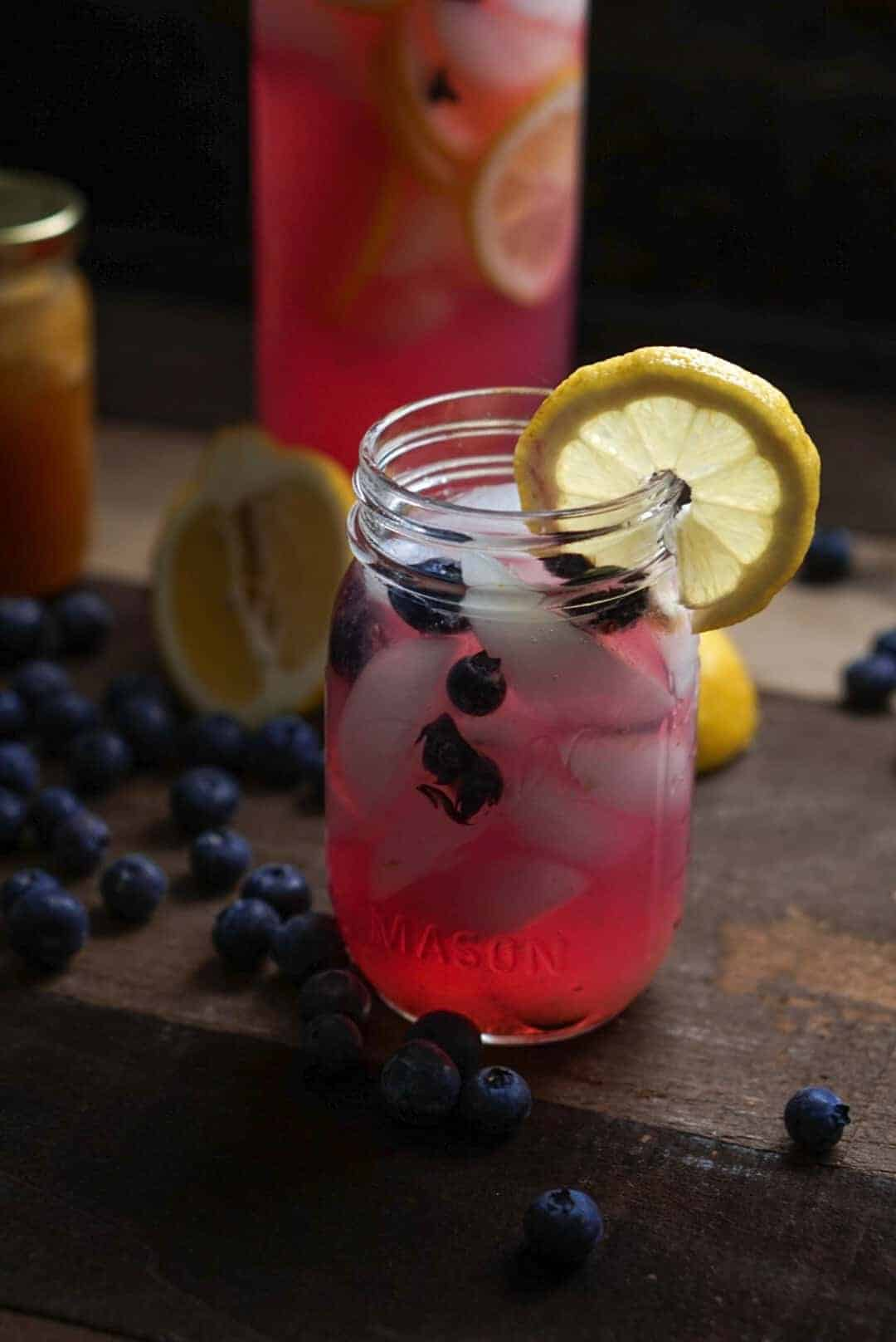 up-close glass of pink blueberry lemonade
