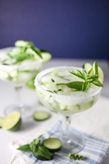 Cucumber Margaritas with Basil