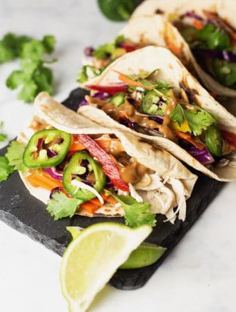 Thai Chicken Tacos with peanut sauce