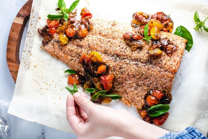 Oven Roasted Salmon with Cherry tomatoes