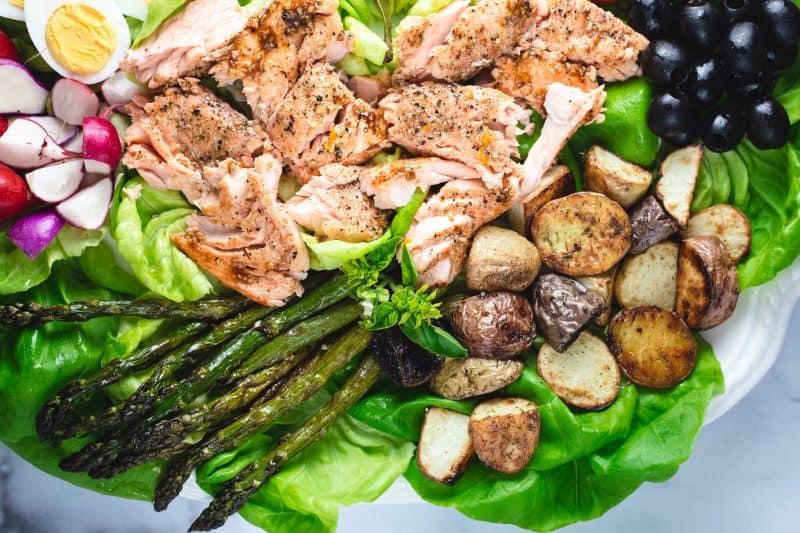 Salmon Nicoise Salad with Asparagus