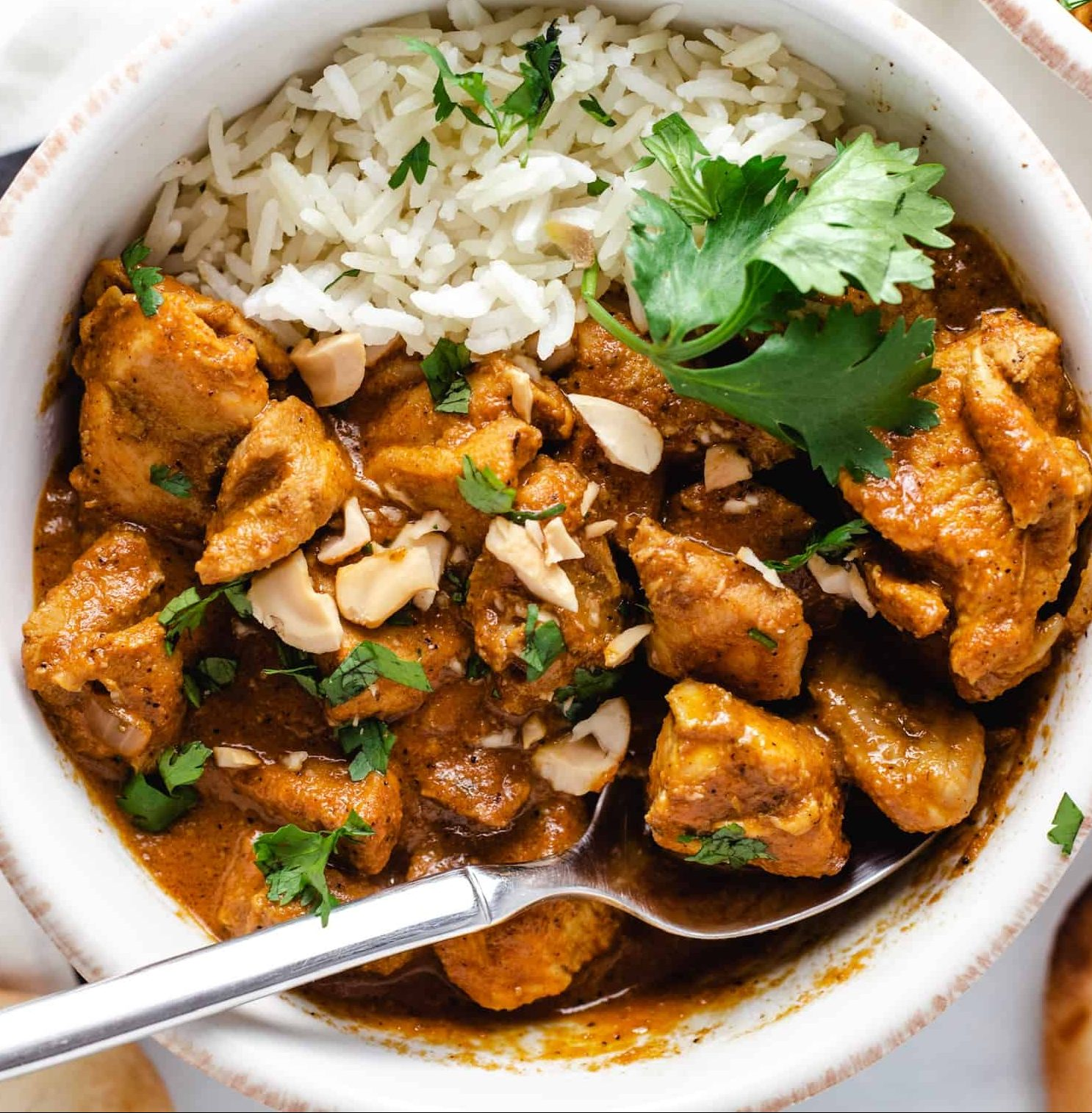 Close up of chicken in indian tomato butter sauce with cashews, cilantro and rice