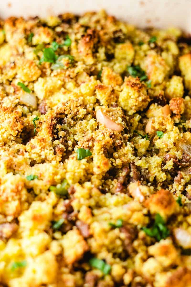 Close up picture of cornbread and stuffing mixture