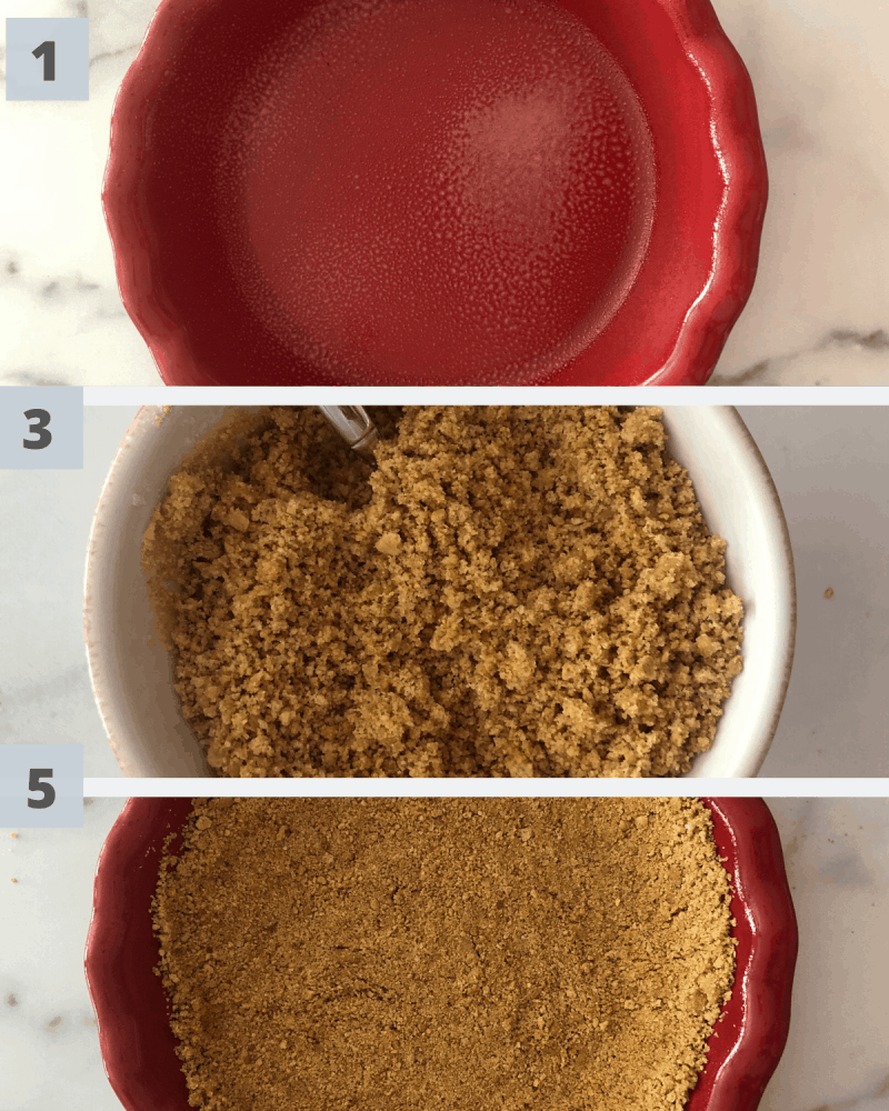 3 steps to pie crust in red pie dish