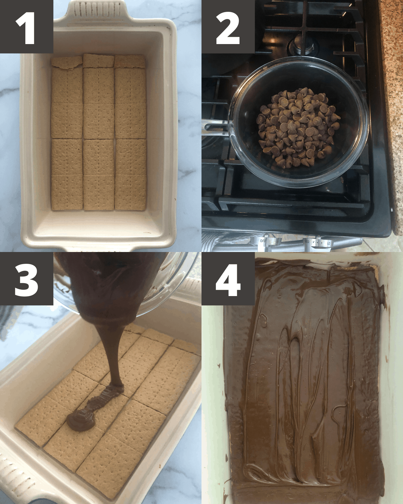 first four steps for rice krispie treats