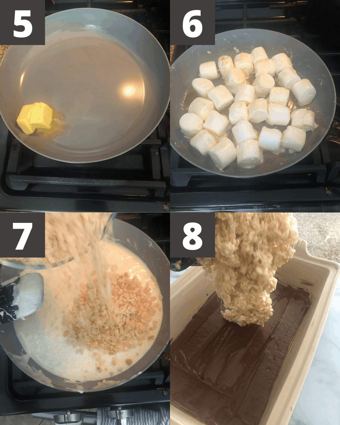 steps 5-8 for s'mores rice krispie treats