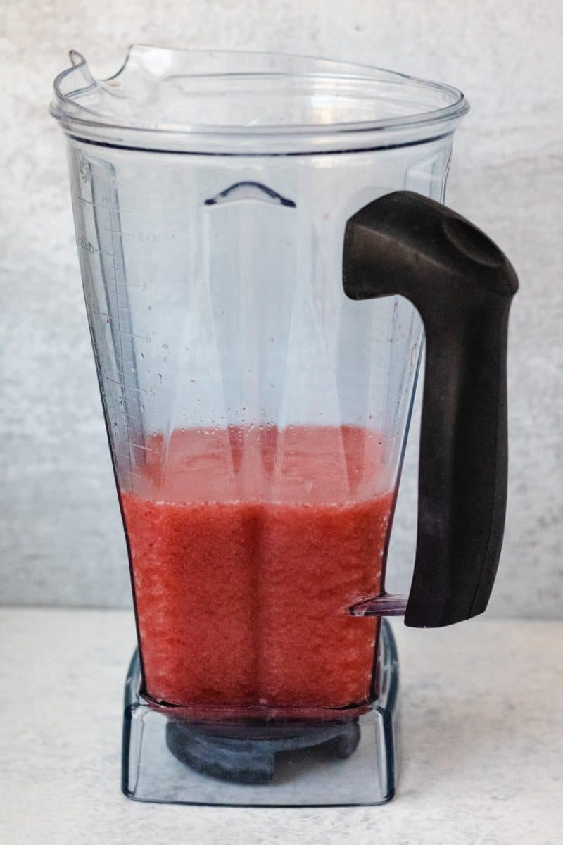 Blended strawberry lemon mixture in blender cup